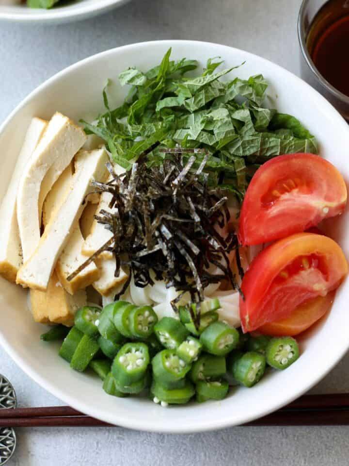Cold Udon Noodles with Summer Vegetables