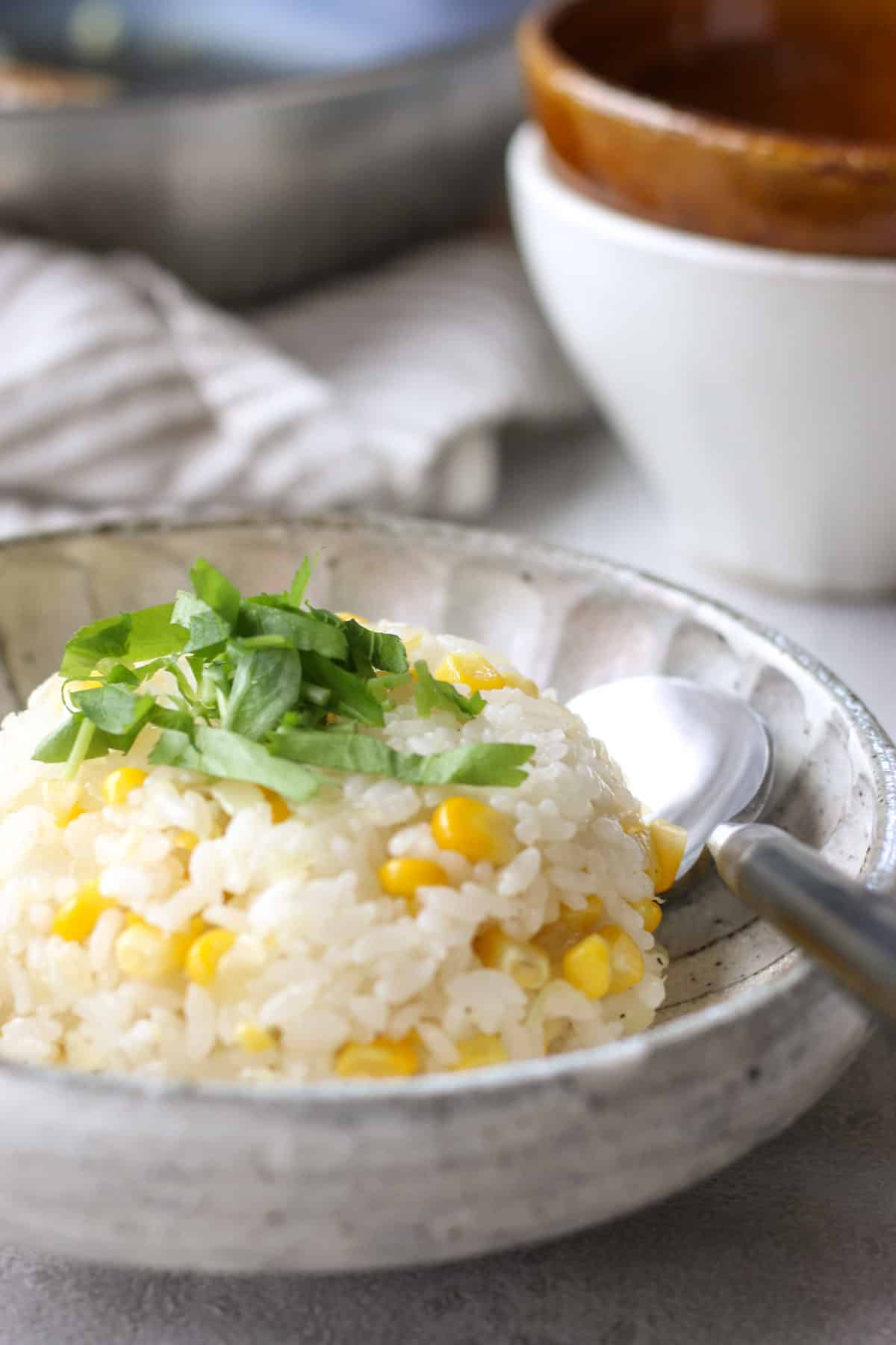 Japanese corn fried rice (chahan)