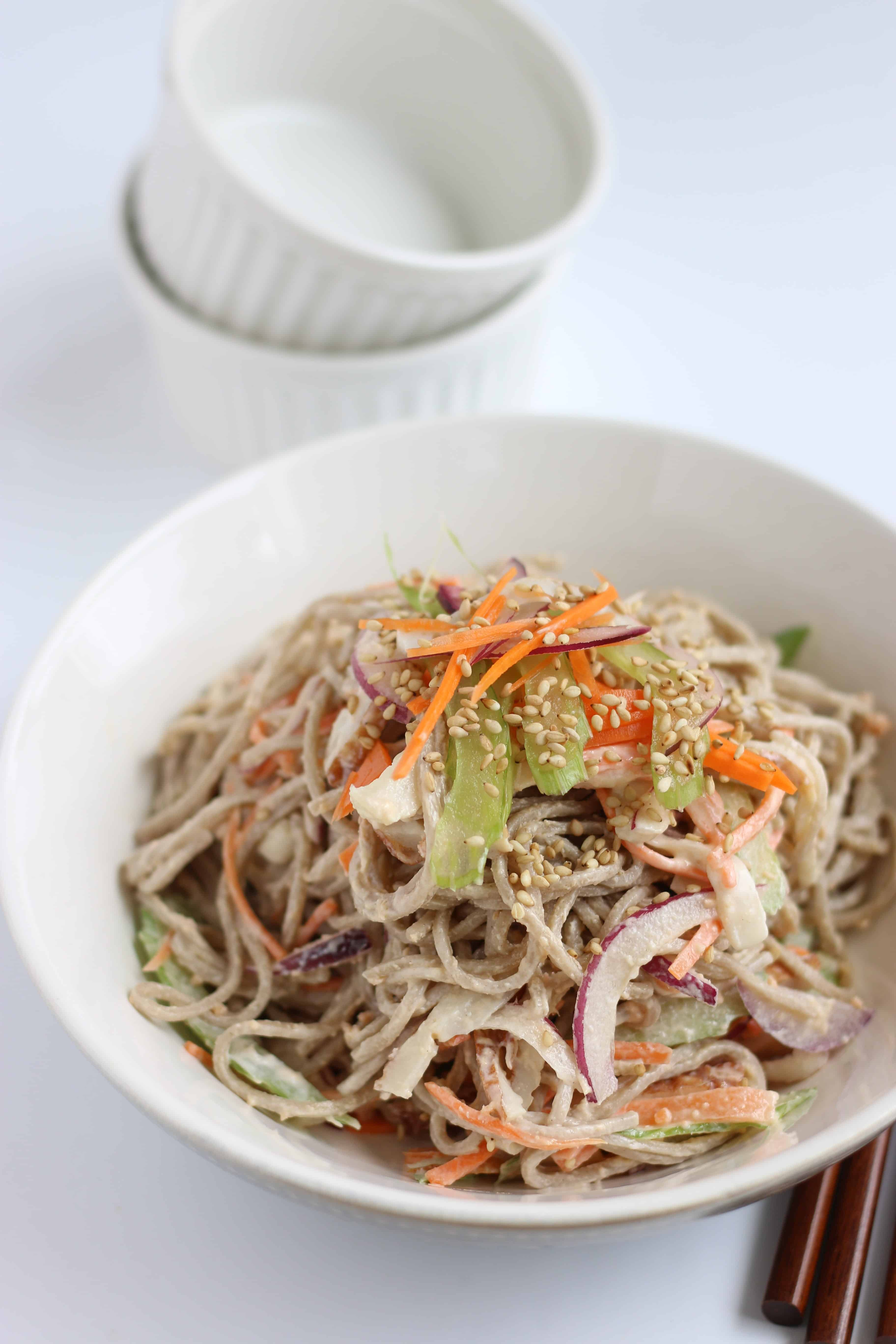 Soba noodle salad. Japanese soba noodle turn into a colorful salad. Mix soba noodle with lots of fresh vegetables and refreshing mayo dressing. It's easy to make and perfect for light meal.