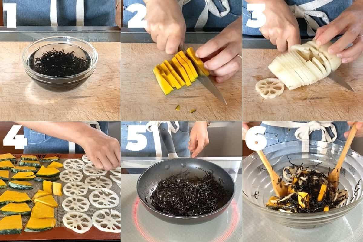 How to make Lotus root and Kabocha salad with seasoned Hijiki