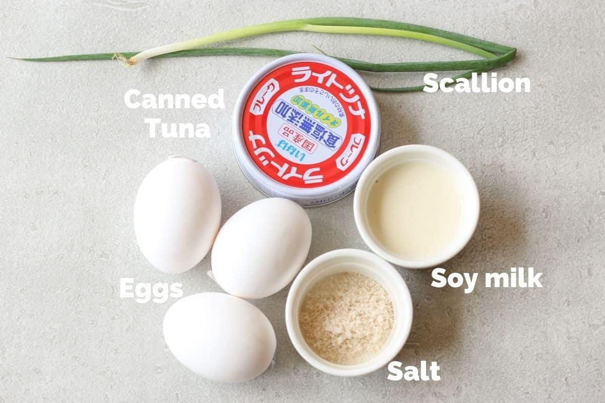 Ingredients for Tuna and Scallion Tamagoyaki (Japanese Rolled Omelette)