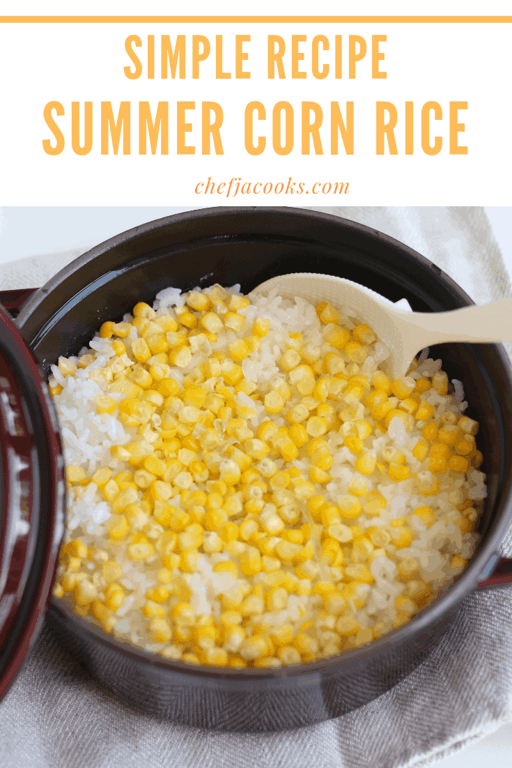 Corn rice in a staub pot. It is vivid yellow rice taken from over head.