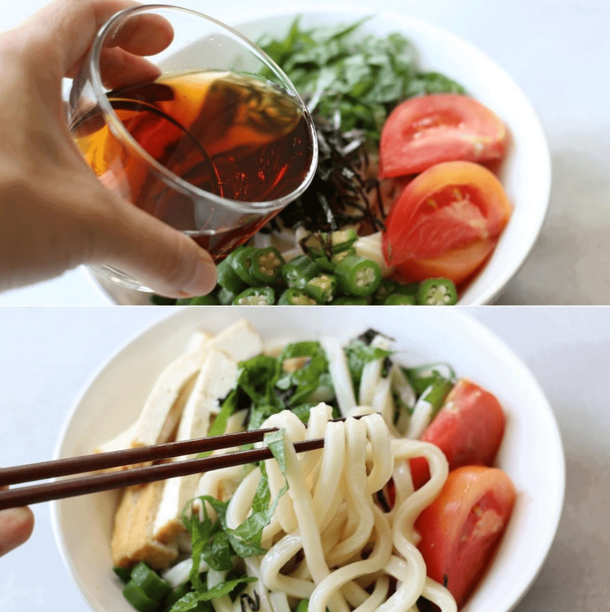 Colorful cold udon in a bowl. Tomato, Okura, Lettuce, and koyadofu are on the top.