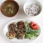 Round shape Japanese tofu hamburger steak wit rice and miso soup. Japanese style lunch set.