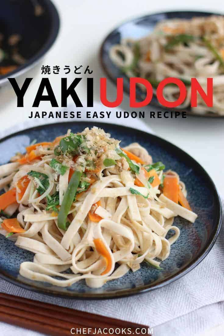 Yakiudon noodles on a blue plate. Ingredients are carrots, green peppers, tuna and bonito.