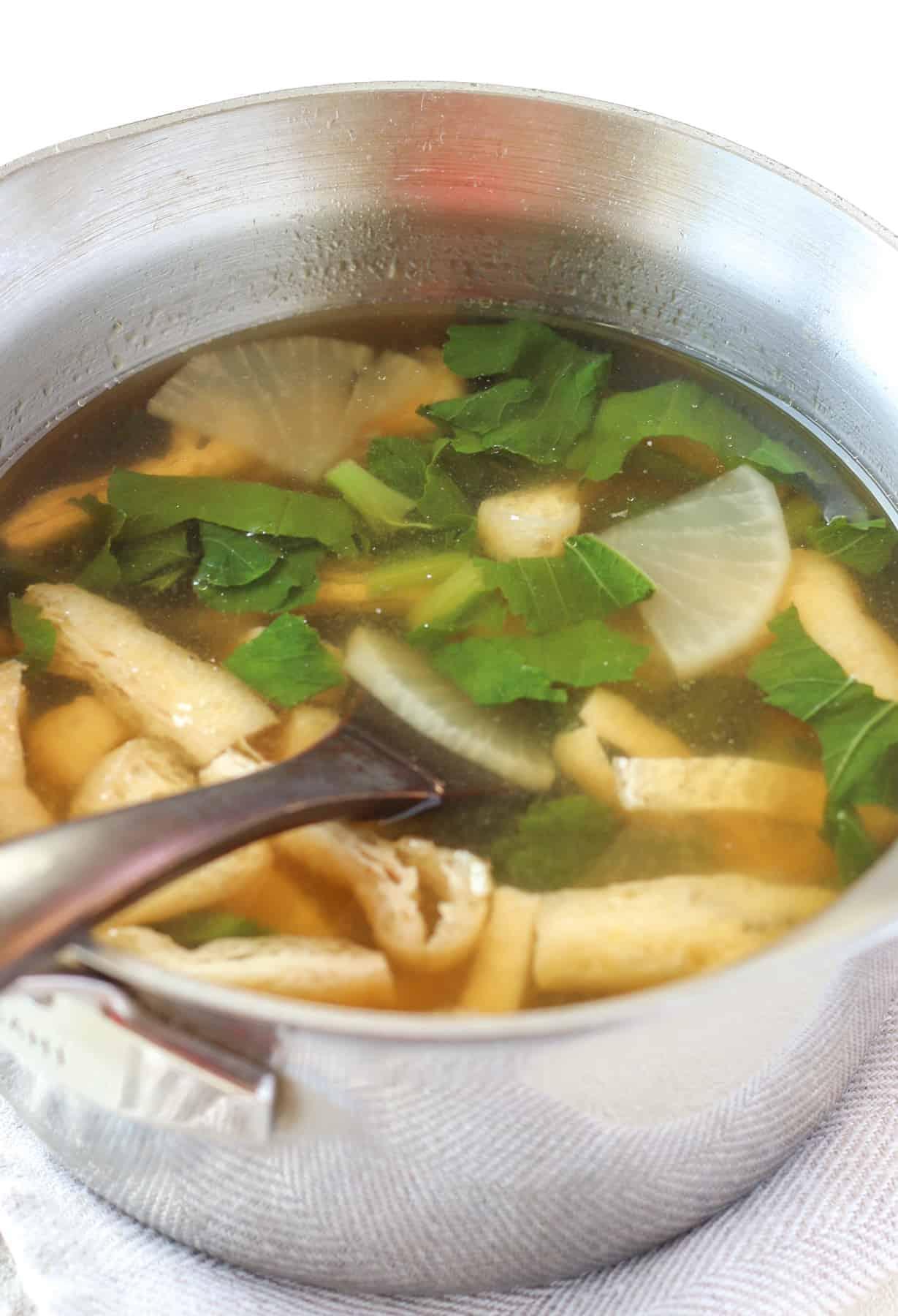 daikon miso soup in a pot