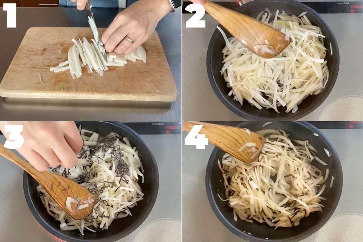 大根の皮の塩昆布炒めの作り方ステップ