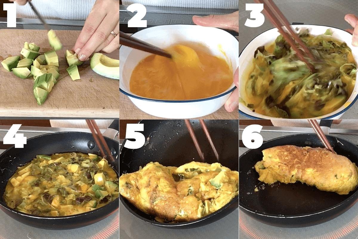 Step by step photo of how to make avocado omelette