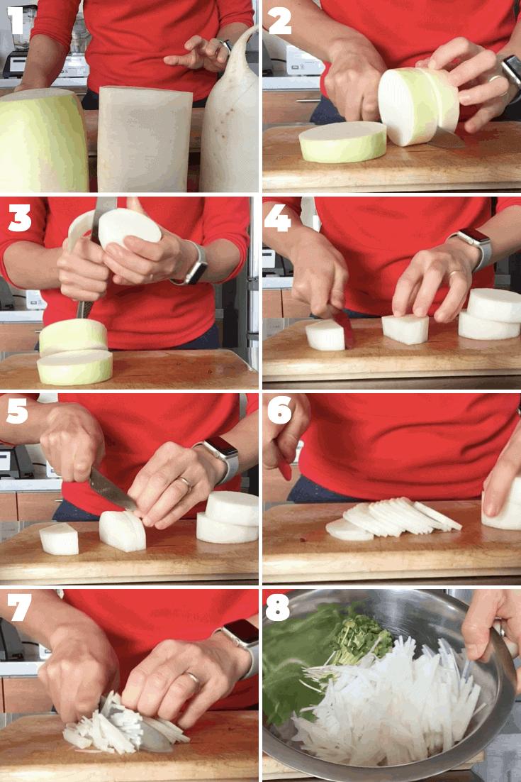 大根サラダの切り方ー千切りのやり方