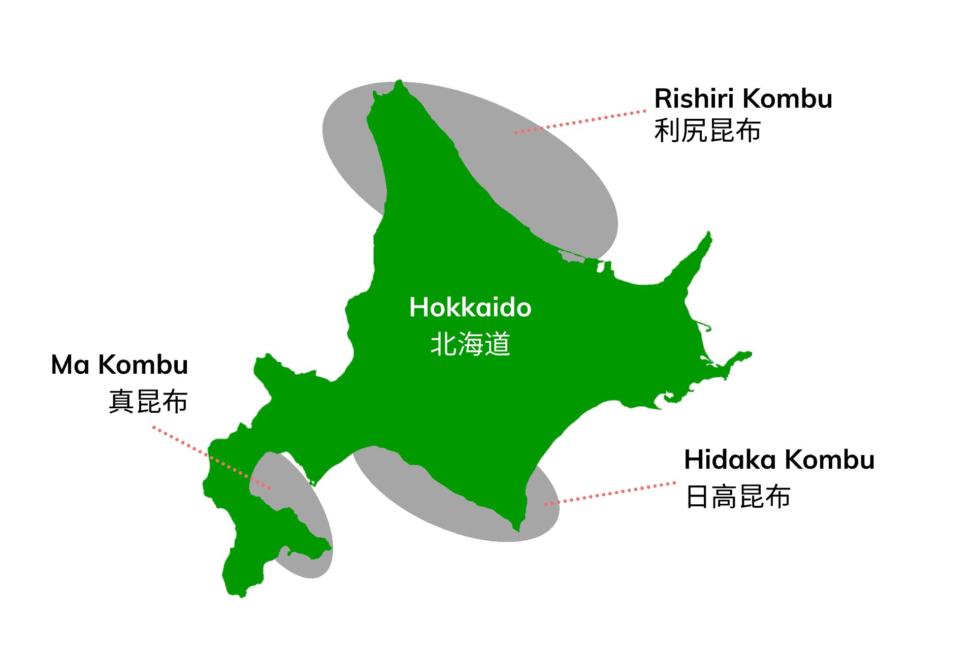 map of hokkaido showing area of kombu grow