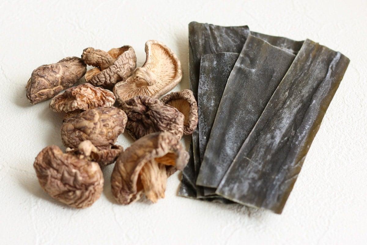 dried shiitake and kombu