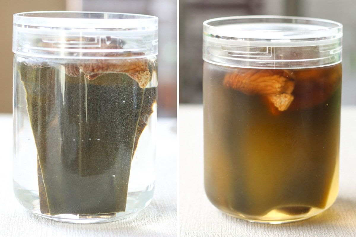 before and after making shiitake kombu dashi