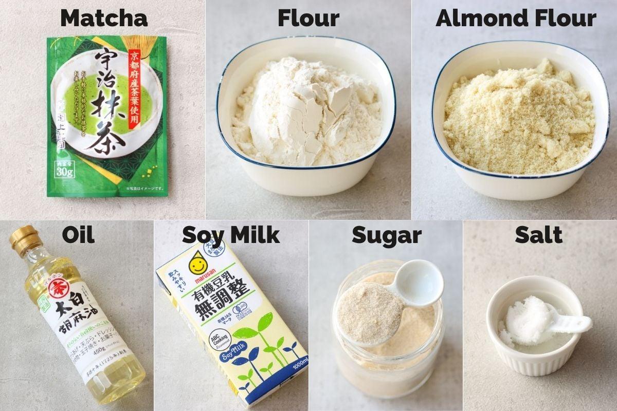 Ingredients for Vegan Matcha Cookies