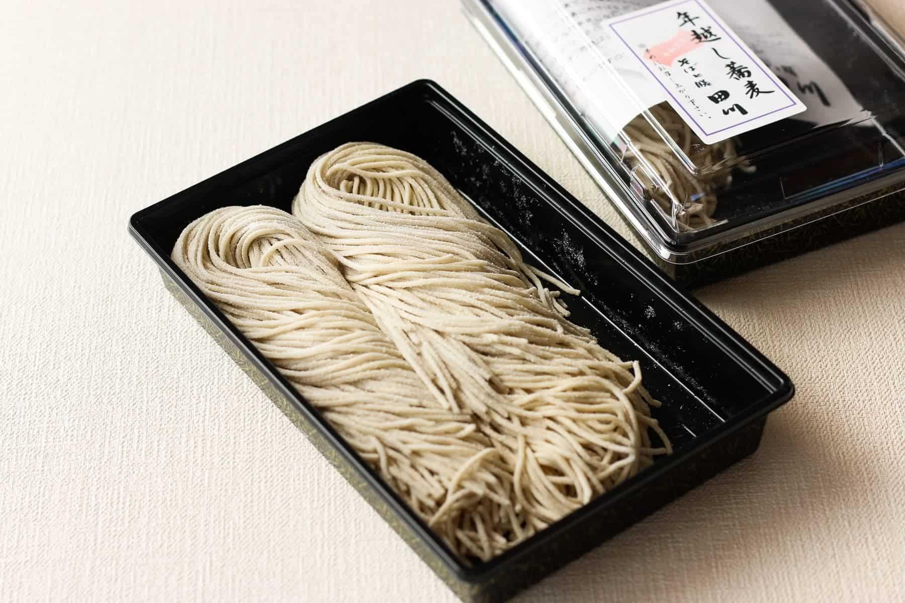 freshly made soba noodles