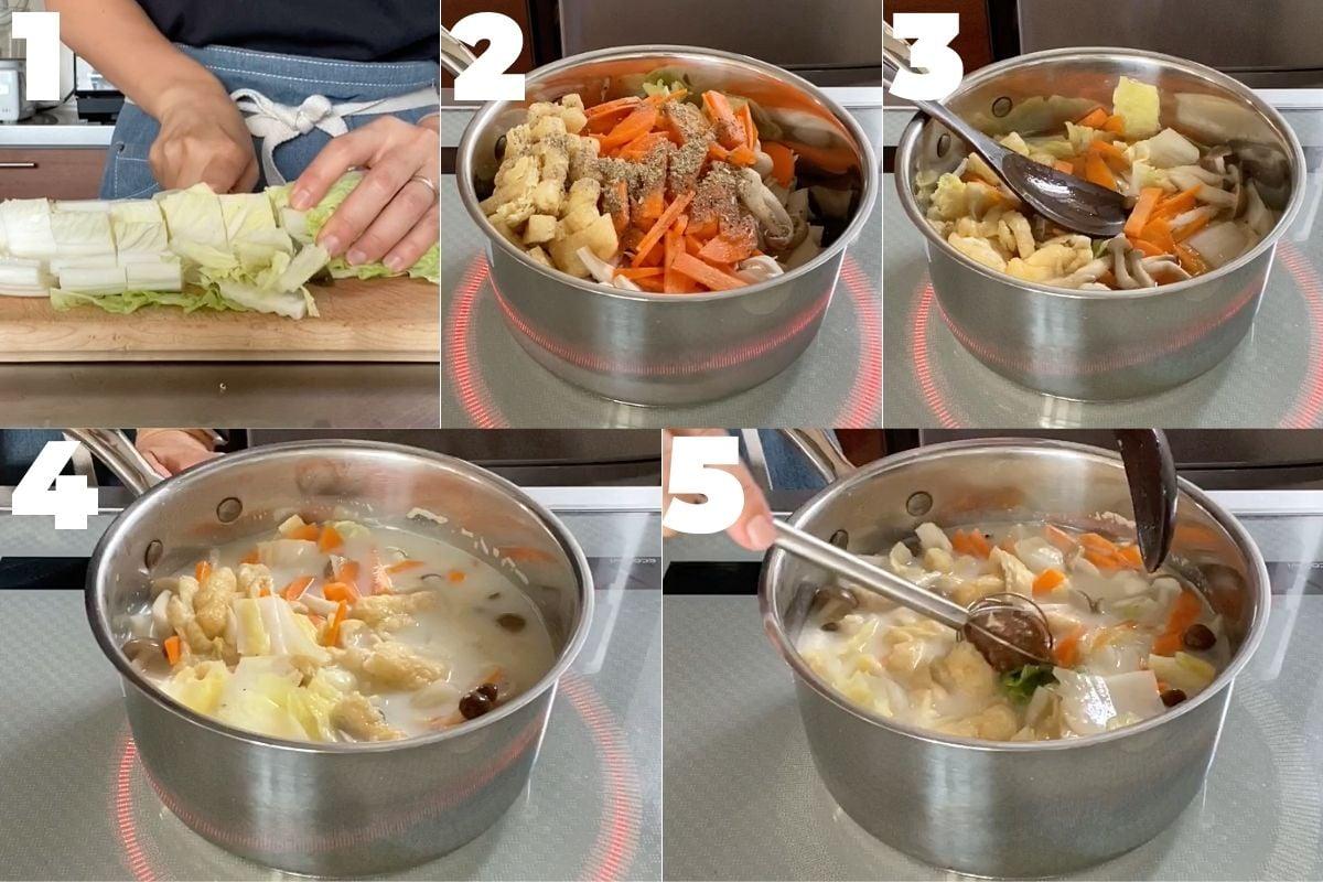 白菜の豆乳味噌汁の作り方