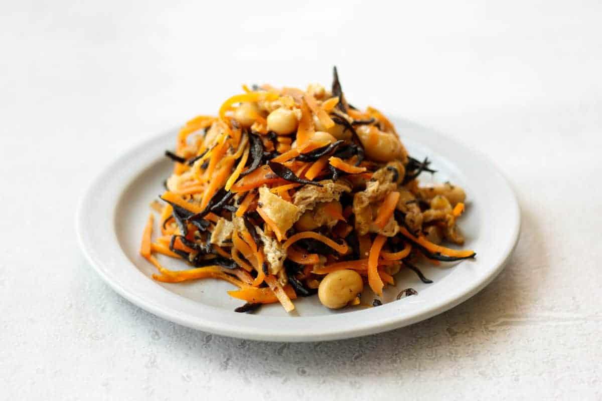 Japanese hijiki seaweed salad(Hijiki no nimono) on a plate