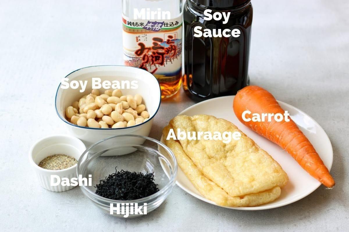 ingredients for Japanese hijiki seaweed salad(Hijiki no nimono)