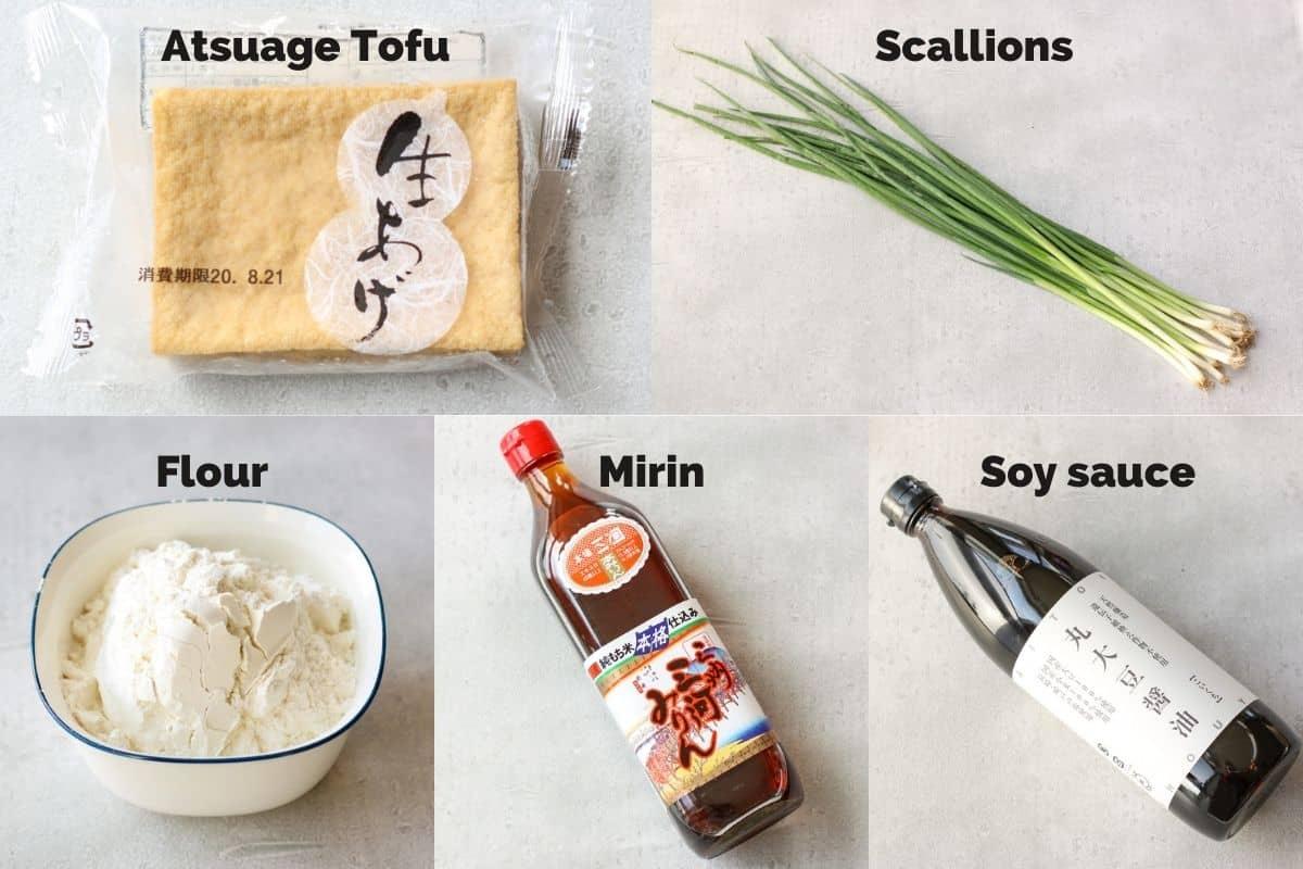 Ingredients for Teriyaki Atsuage Tofu