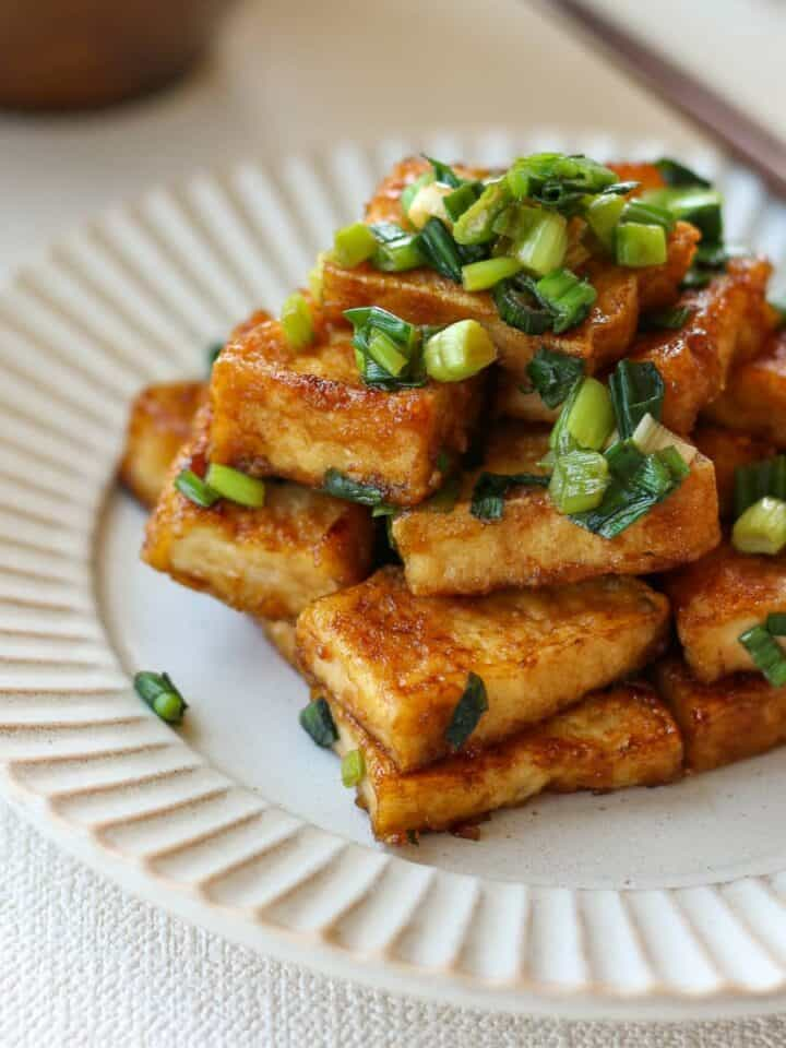 Teriyaki Atsuage Tofu on a plate