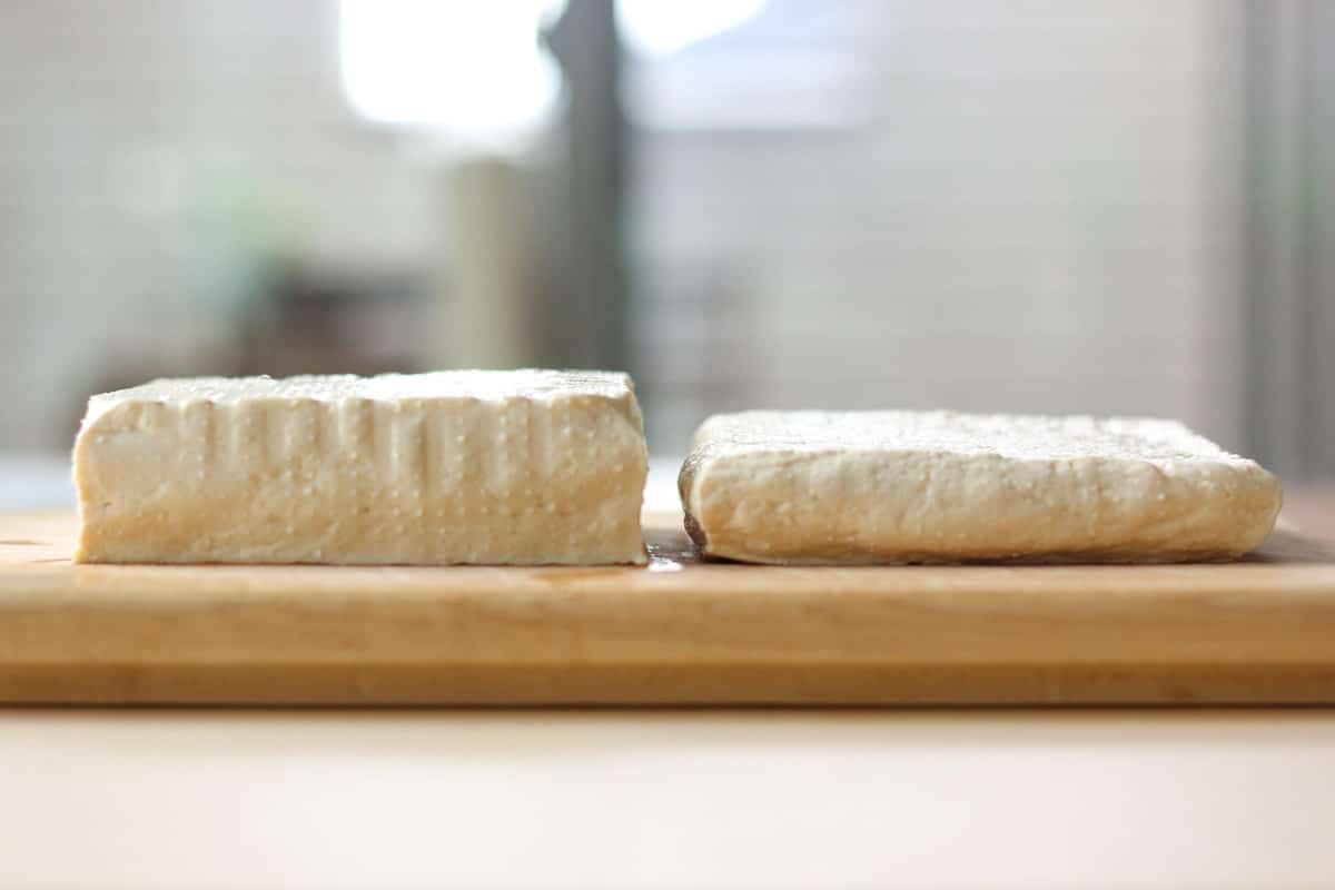 tofu, before and after pressing
