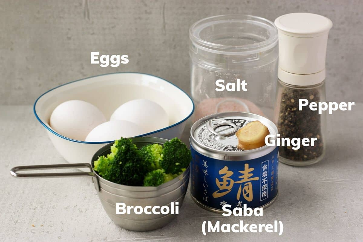 ingredients for omelette with canned mackerel