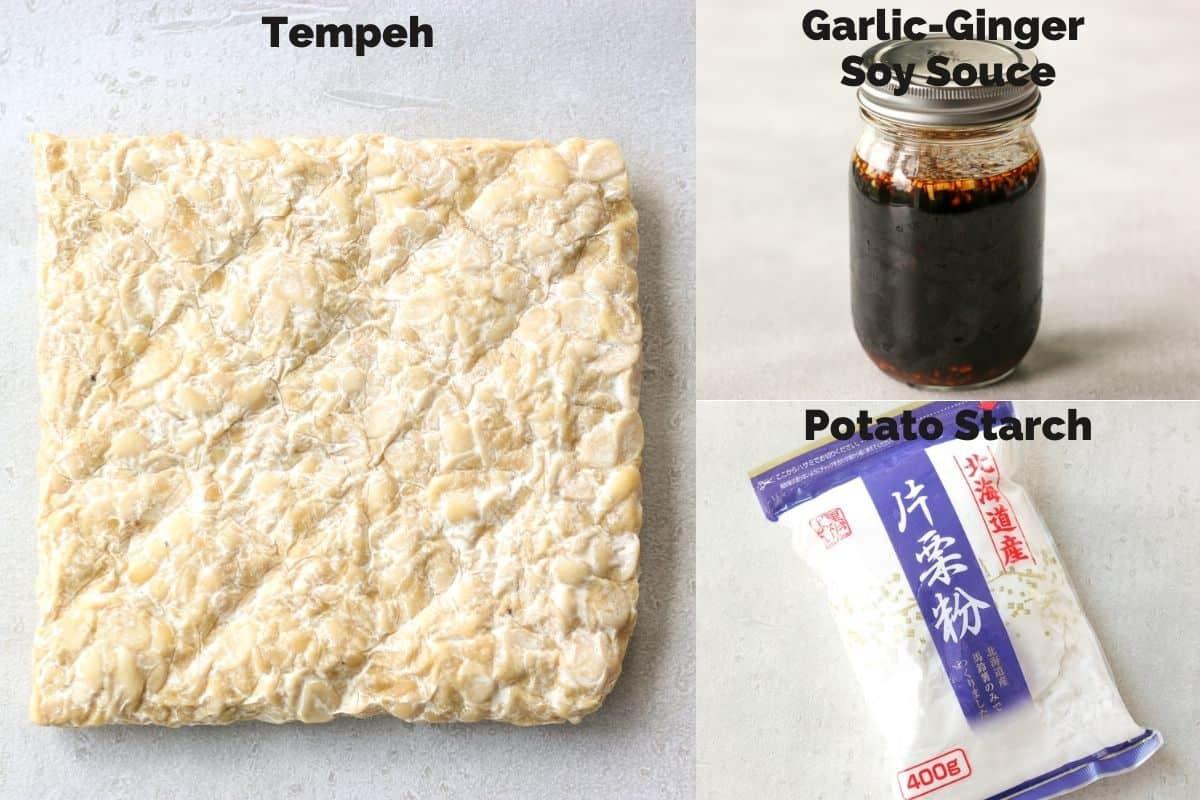 Ingredients for Vegan Tempeh Karaage