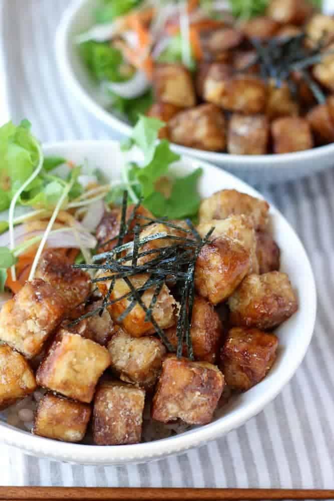 vegan tempeh karaage rice bowl