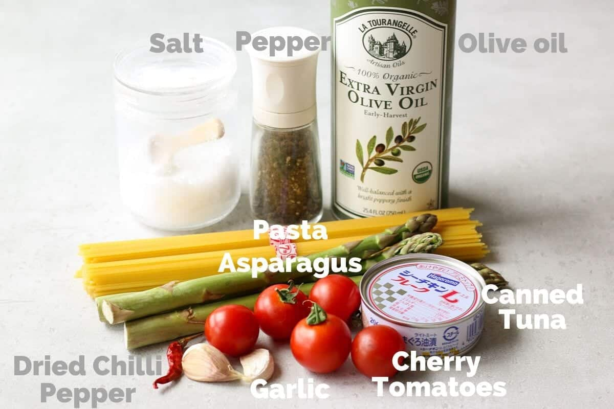 Ingredients for Tuna and Asparagus Pasta