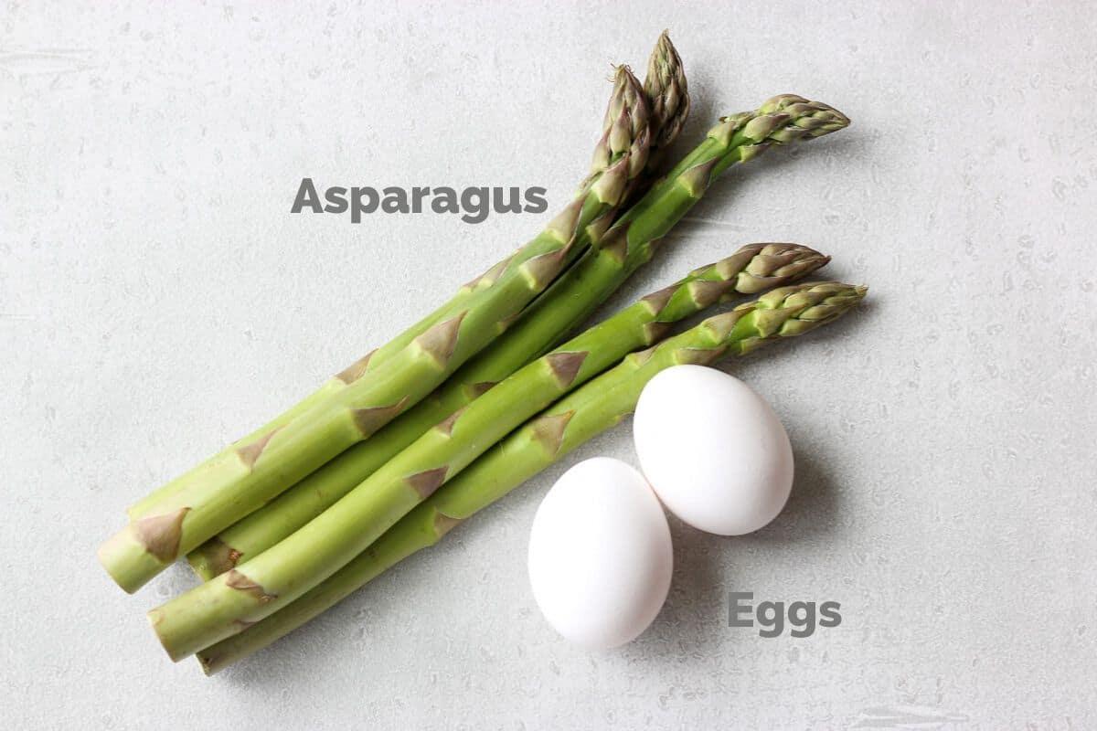 アスパラとゆで卵のサラダに使う材料