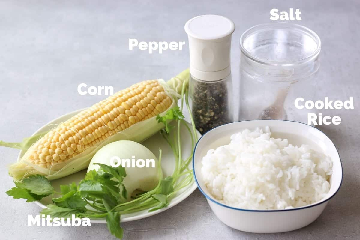 Ingredients for Japanese corn fried rice (chahan)