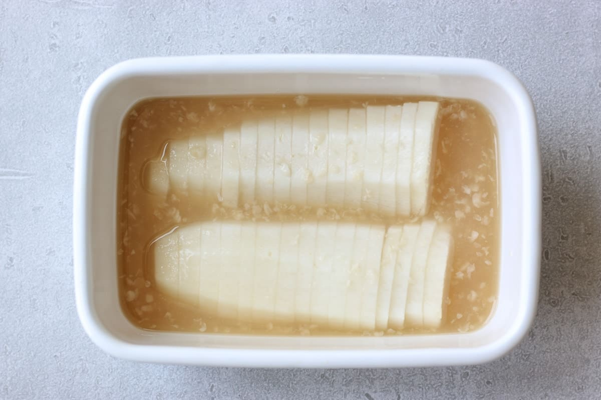Japanese Pickled Daikon in a food container