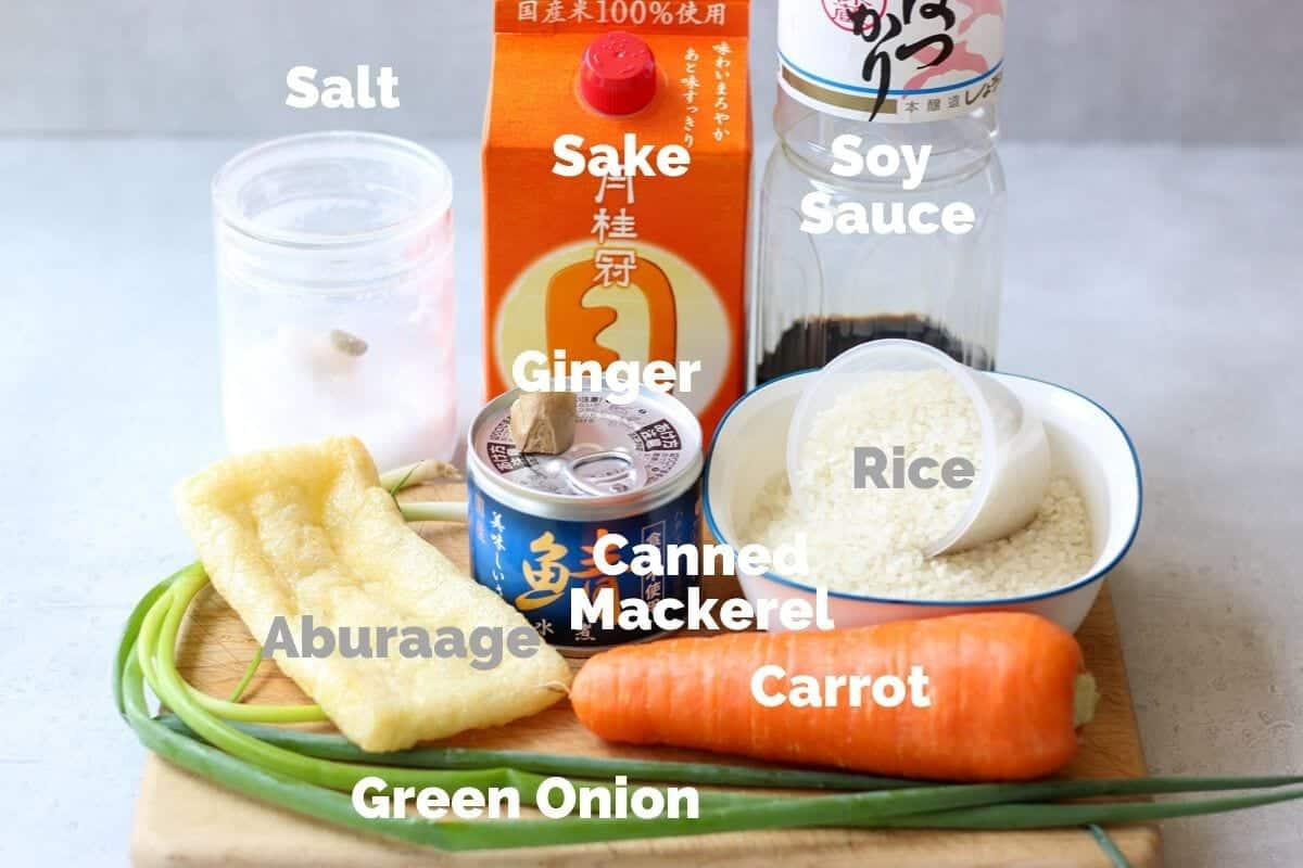Ingredients of Japanese Canned Mackerel Rice