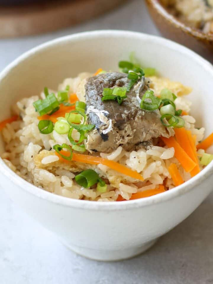 Japanese canned mackerel rice