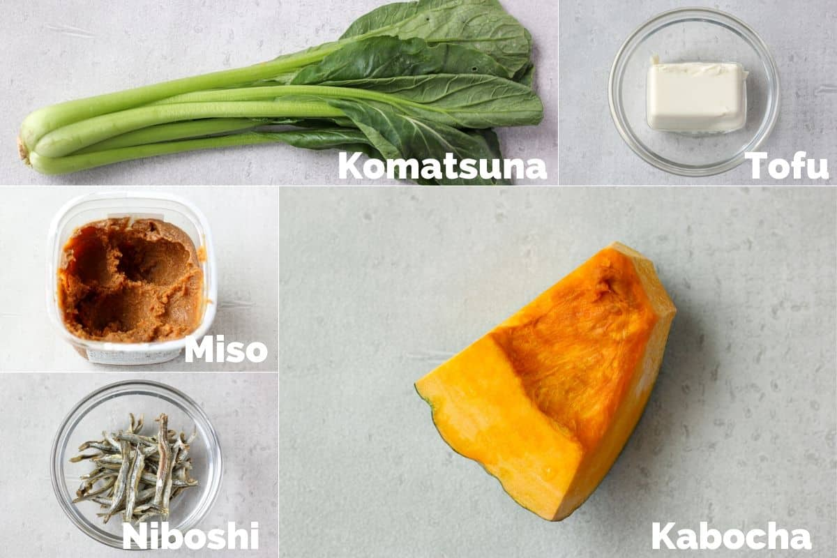 Ingredients for kabocha miso soup