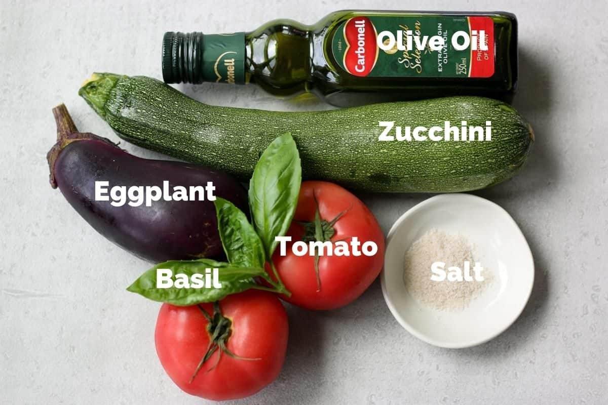夏野菜のオーブン焼きの材料