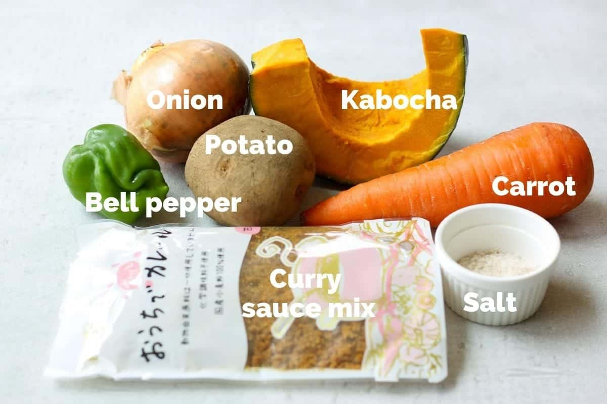 Ingredients for Japanese Summer Vegetable Curry Rice