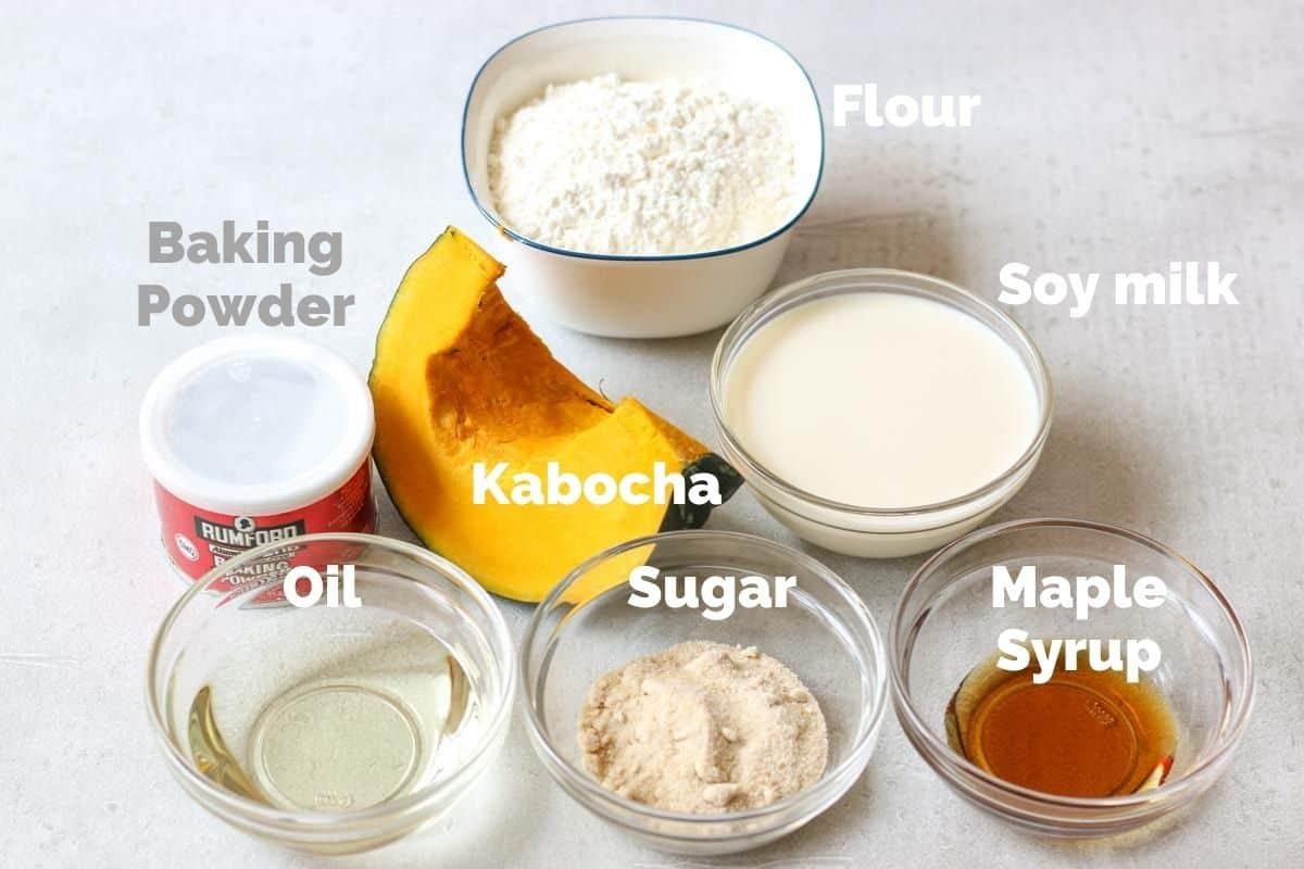 Ingredients for Vegan Kabocha Squash(pumpkin) Muffins