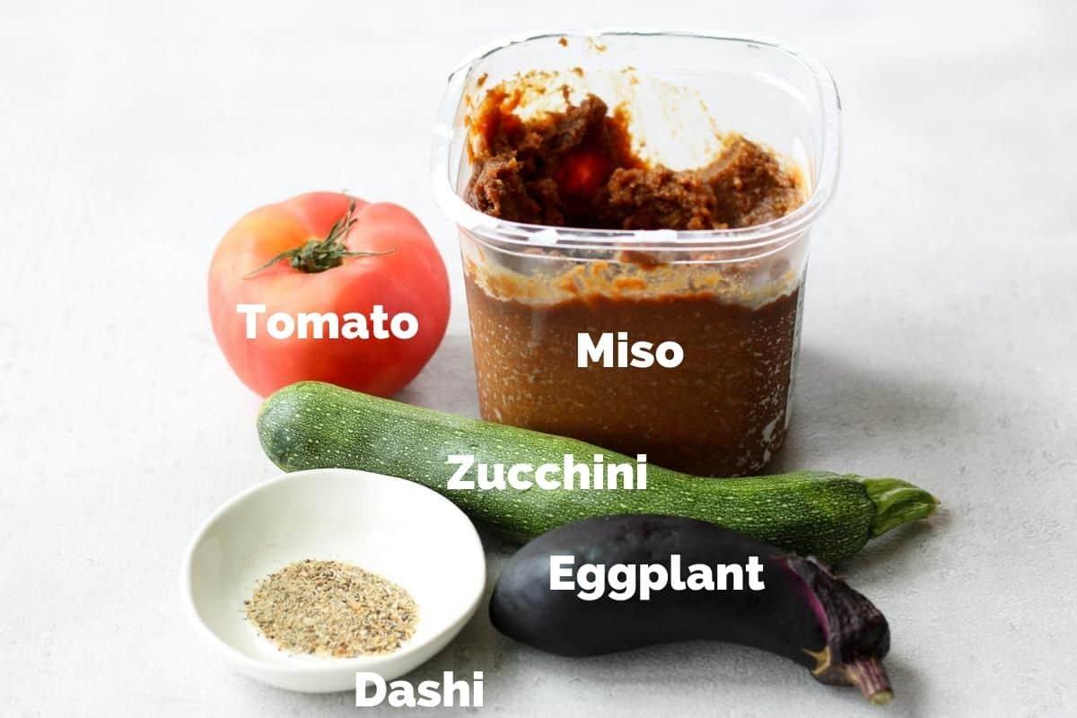 Ingredients for Summer Vegetable Miso Soup