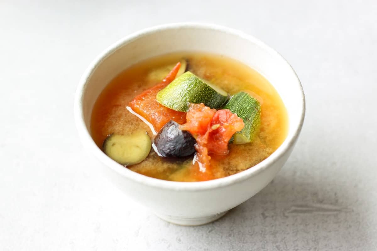 Summer Vegetable Miso Soup in a bowl