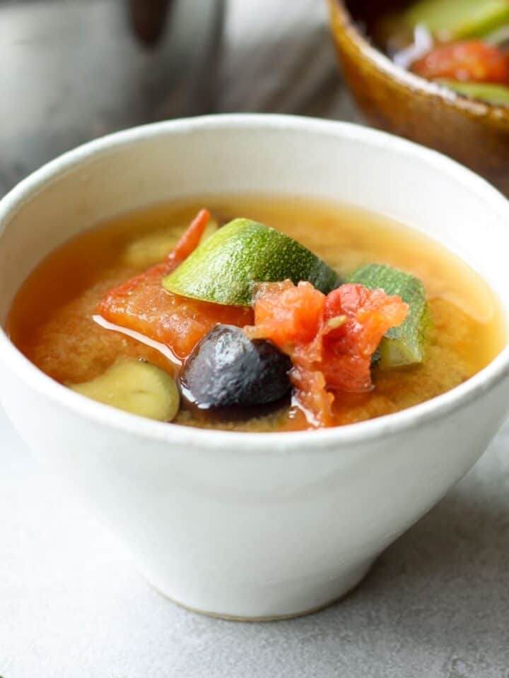 Japanese summer vegetable miso soup in a bowl
