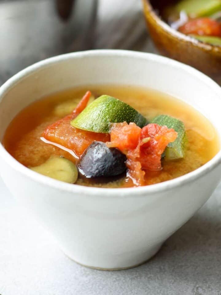 Japanese summer vegetable miso soup