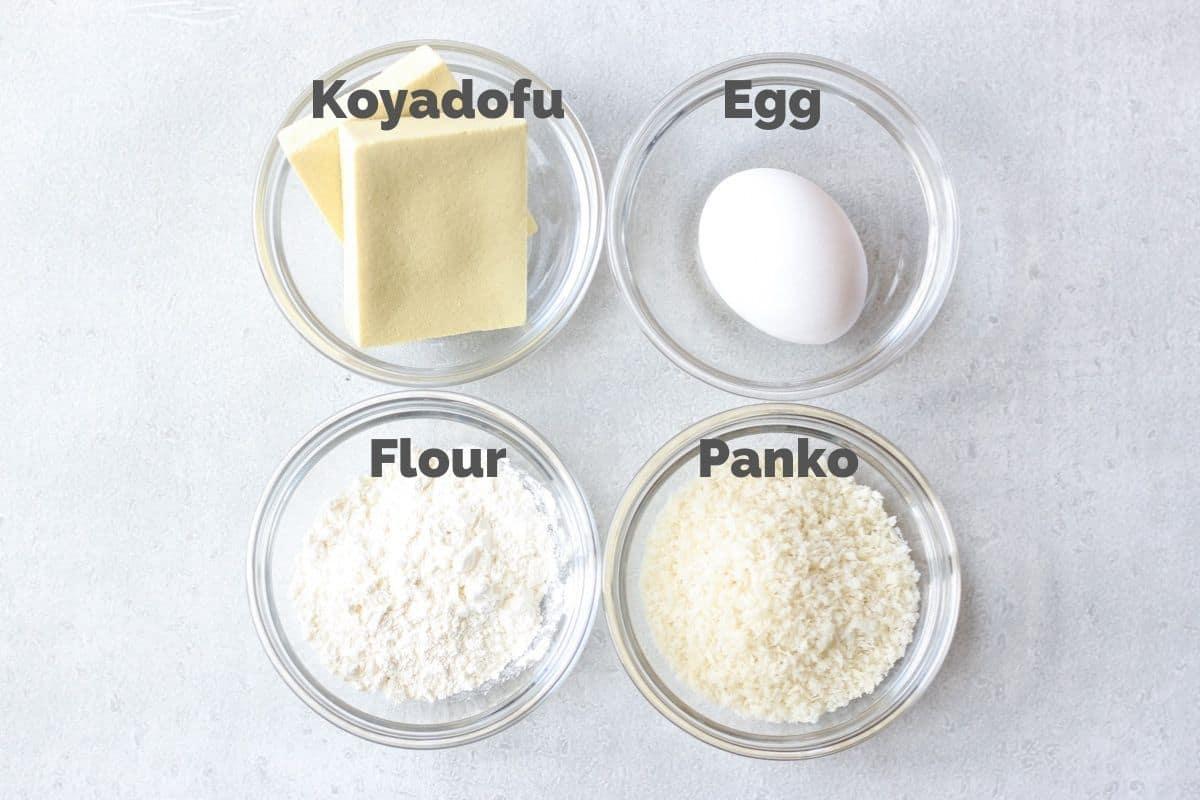 Ingredients for Koyadofu Katsu(Japanese tonkatsu style dish)