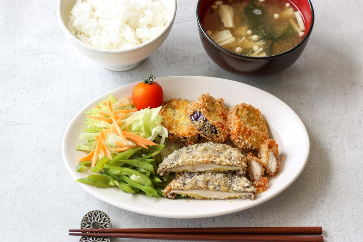 Japanese steamed rice, miso soup, and Panko Crusted Fried Eggplant and Shiitake Mushrooms