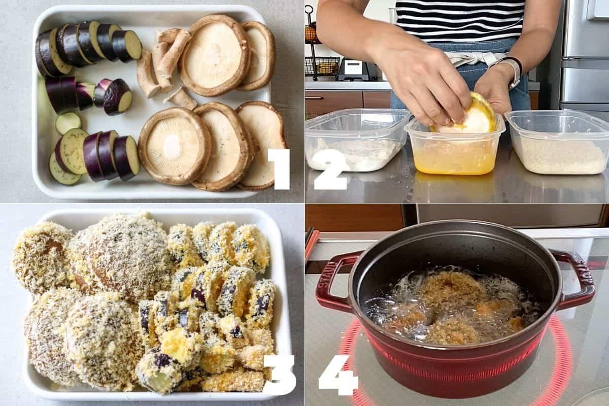 How to make Panko Crusted Fried Eggplant and Shiitake Mushrooms