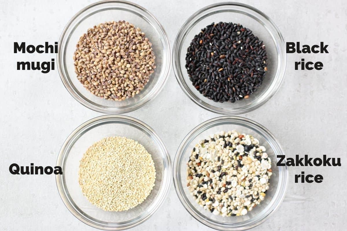 mochimugi, quinoa, black rice, zakkoku rice