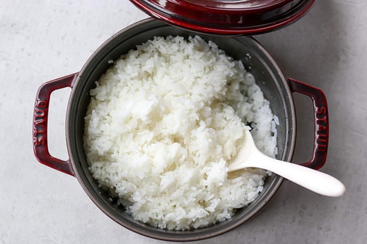 Japanese short grain rice in a pot