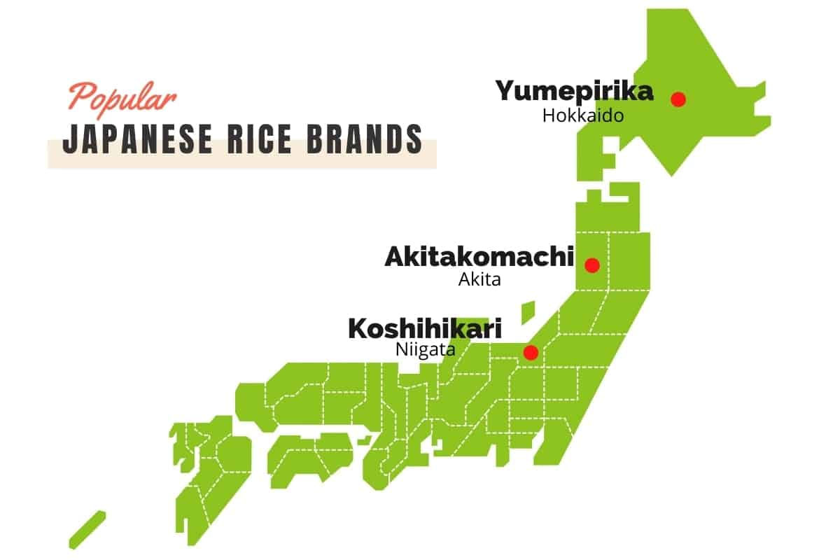 Japanese map with Japanese rice brands