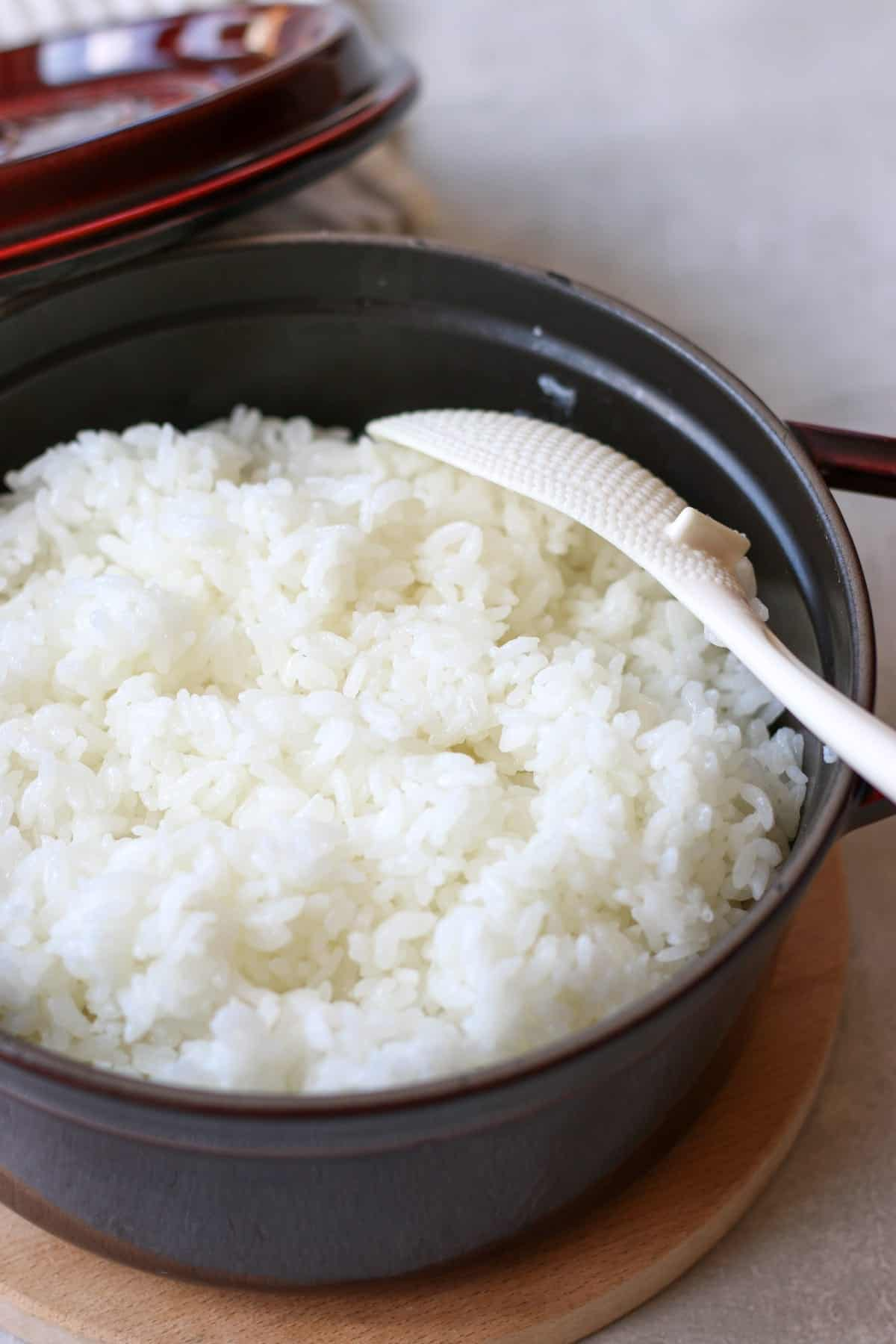 Japanese short grain rice on the stove