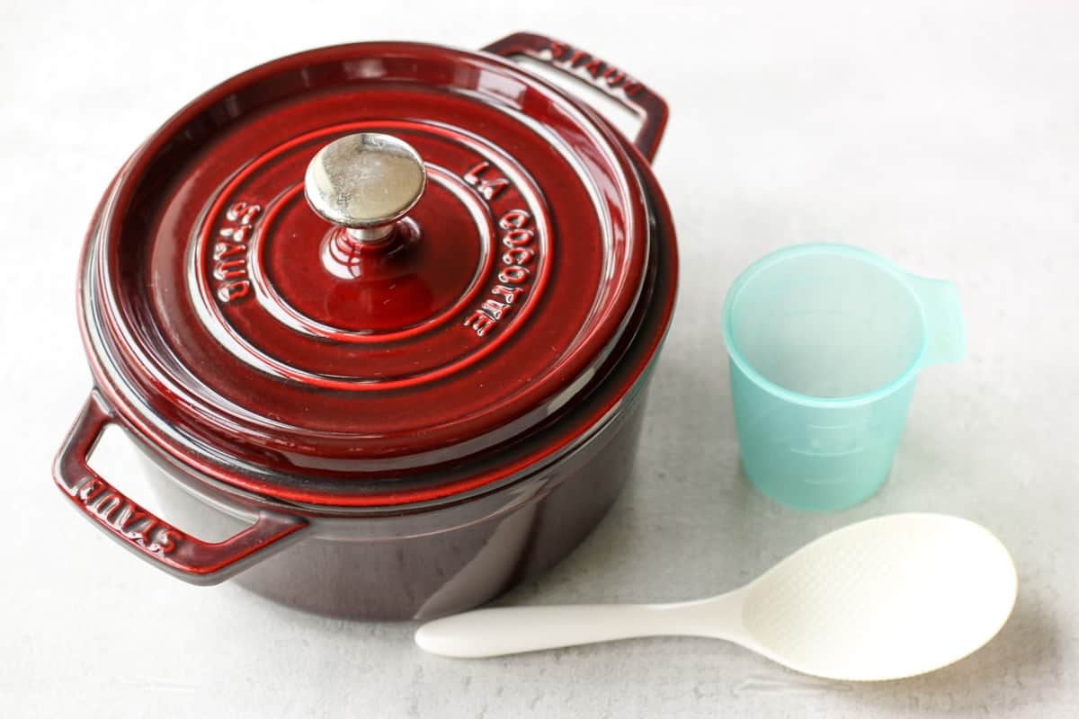 Staub pot, shamoji, and rice cup
