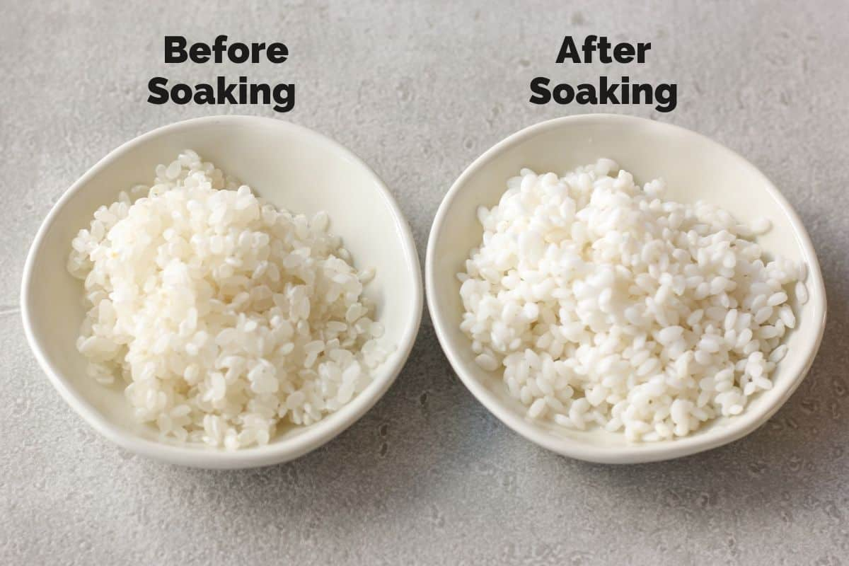 Japanese short grain rice, before soaking and after soaking